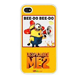 Despicable Me Minion Phil Yellow Background Fashion Design Hard Case Cover Skin Protector for Iphone 4 4s Iphone4 At&t Sprint Verizon Retail Packing(white Pc+pearlescent Aluminum) Ok-007