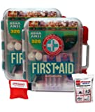 2 Pack First Aid Kit With Hard Case- 326 pcs each - First Aid Complete Care Kit - CPR Savers Keychain & Emergency Mylar Blanket
