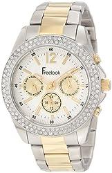 Freelook Women's HA6305G-4 Silver/Gold Silver Dial Chronograph Swarovski Bezel Watch