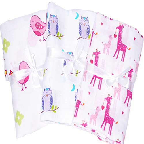 3 Soft & Breathable Baby Swaddle For Deeper Sleep. Durable Receiving Blankets For Holiday Gifts Like Aden Anais (Thermal Receiving Blanket Purple compare prices)