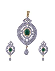 Nimbark Traders Brass And Metal White & Green Color Designer Pendent Set With Earrings For Women