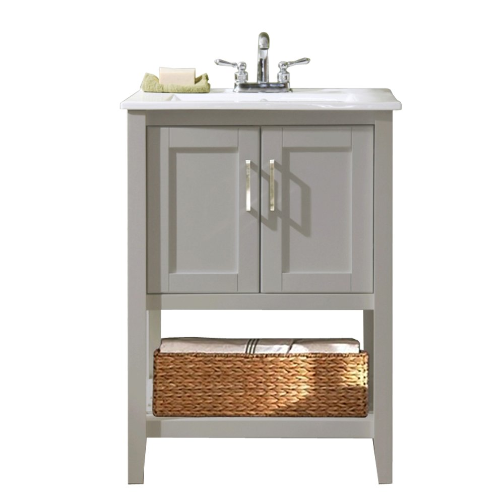 "Legion Furniture WLF6020-G 24"" Single Sink Bathroom Vanity with Ceramic Sink Top, Gray Finish"