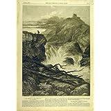 Impresión Antigua del Río Viejo 1858 del Torrente de la Montaña de la Bella Arte de Creswick