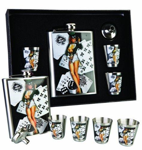 burlesque-redhead-sexy-lady-cards-set-fiaschetta-in-metallo-con-4-bicchieri-da-shot-tot-in-confezion