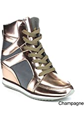 Reneeze Womens Kelly-02 High Top Wedge Heel Lace Up Sneaker Ankle Bootie