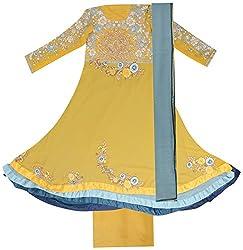 BBJ Export Women's Georgette Dress Material (Yellow)