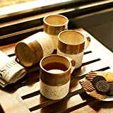 ExclusiveLane Studio Pottery Glazed Ceramic Conical Mugs Set Of 4 In Brown & Beige- For Kitchen / Dinning Ware