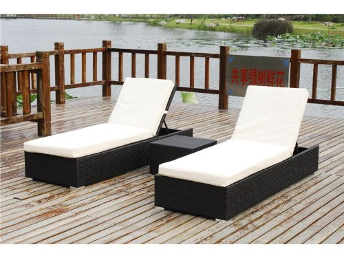 Belize 3 Piece Outdoor Patio Furniture Chaise Lounger Set Black or Brown Wicker photo