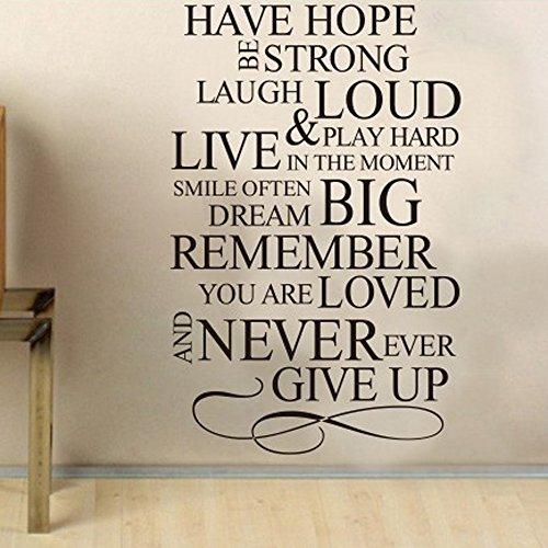 Avere speranza inglese Proverbi Wall Sticker da letto Soggiorno Sfondo Oggettistica per la casa Adesivi murali disegni rimovibili 60 * 90 cm