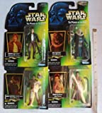 Star Wars - The Power of the Force 4 Figures (Hollograhic Cards) - Bespin Han Solo, Princess Leia Organa as Jabba's Prisoner (Slave Outfit), Lando Calrissian as Skiff Guard and Bib Fortuna - Made by Kenner