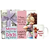 Card And Mug With White Flower - Mothers Day Card 1, Coaster 1, Coffee Mug 1, Mothers Day Gifts, Mothers Day Poster...