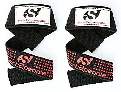 Lifting Straps with Silicone Grip - Weightlifting Straps - Wrist Strap - Lifting Weights - Deadlift - Women & Men Weight Lifting Equipment by Sport2People for Crossfit, Bodybuilding, Power Lifting
