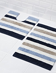 Cable Striped Bath & Pedestal Mats