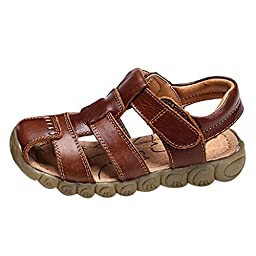 GETUBACK Boys Genuine Leather Sandals Soft Sole (Toddler/Little Kid/Big kid) Brown CN SIZE 25