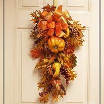 Fall Door Swag - Pumpkin and Gourd- Autumn Door Swag WR4634