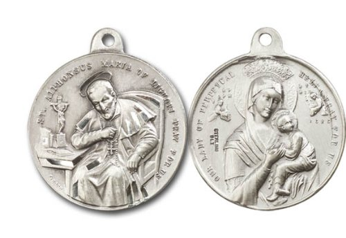 [St. Alphonsus & Our Lady of Perpetual Help Medal, Sterling Silver Pendant with 24