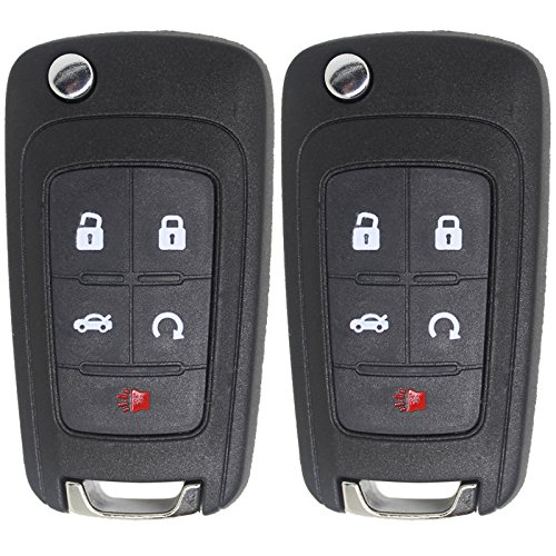 Keyless2Go New Keyless Remote 5 Button Flip Car Key Fob for Vehicles That Use FCC OHT01060512 (2 Pack) (2010 Camaro Key compare prices)