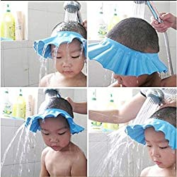 House Of Quirk Soft Baby Kids Children Shampoo Bath Bathing Shower Cap Hat Wash Hair Shield - Blue