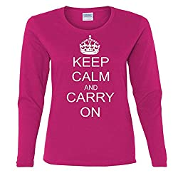 Keep Calm and Carry on Vintage World Peace Retro Missy Fit Long Sleeve T-Shirt