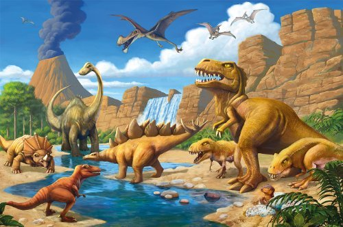 Dinosaur photo wallpaper - Dinosaur mural - XXL Dinosaur wall decoration nursery 132.3 Inch x 93.7 Inch