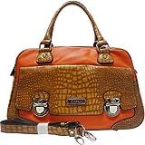 Dasein Croco Texture Satchel Bag w/ Front Buckled Pocket -Orange/Tan Trim
