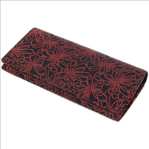 印傳屋 印伝 レディース ( レディス / 女性用 ) 長財布 ( 財布 ) 束入れ 2308 日本製 ( 国産 ) 和柄  (線菊小(黒×赤))