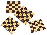 HOKIPO Bamboo Coaster / Pan Pot Holder Heat Insulation Pad, Square 5.5 x 5.5 inch, 4 Piece Set