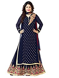 Inddus Women Navy Blue Colored Embroidered Unstitched Plazzo Suit