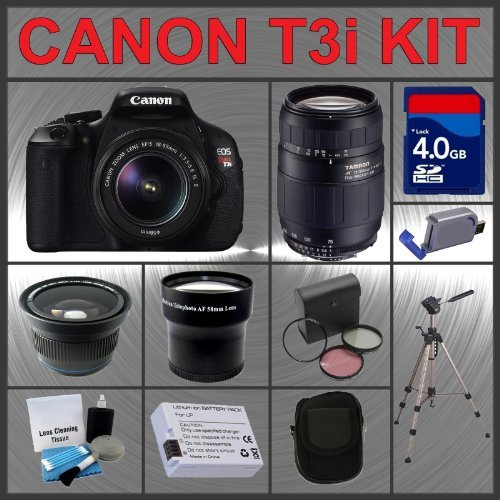 Canon EOS Rebel T3i 18MP Digital Camera with EF-S 18-55mm IS II Lens & Tamron AF 75-300mm f/4.0-5.6 LD for Canon Digital SLR Cameras + 4GB Memory Card + Spare Extended Life Li-Ion Battery + 3 Piece Lens Filter Kit + 2.0 USB SD Memory Card Reader + Wide An
