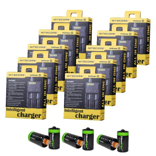 10 Pack Nitecore I2 Intellicharger Universal Home/Car Battery Charger (Ver. 2) With Bonus 6 Pack Edisonbright Aa To D Type Battery Spacer/Converters (Wholesale)