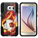 Galaxy S6 Case, Dual Layer Shell STRIKE Impact Kickstand Case with Unique Graphic Images for Samsung Galaxy S6 VI SM-G920 (T Mobile, Sprint, AT&T, US Cellular, Verizon) from MINITURTLE | Includes Clear Screen Protector and Stylus Pen - Flaming Soccer Ball