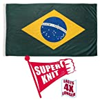 Brazil Flag 3ft x 5ft Super Knit Brand