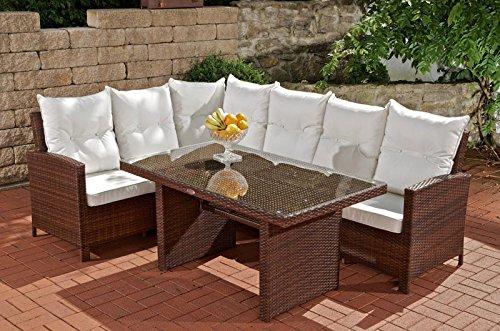 CLP Gartengarnitur BERMEO, Aluminium & Poly-Rattan, Eckbank + Ess-Tisch 140 x 80 cm, 6 Plätze, bis zu 4 Rattan-Farben wählbar braun-meliert