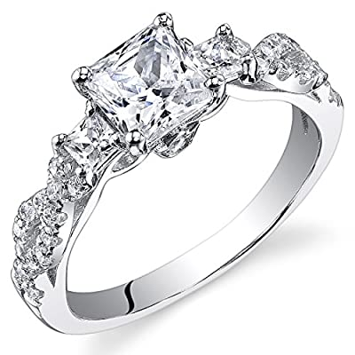 Revoni Sterling Silver Princess Cut Simulated Diamond Engagement Ring,