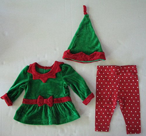 Cherokee Baby Girl Elf Outfit with Elf Hat Size 0-3 Months