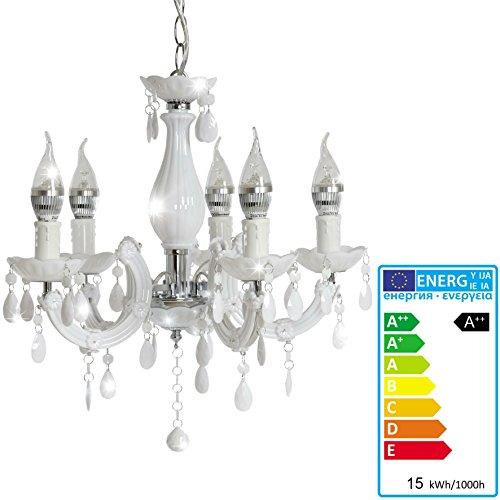 Fesselnd LED Kronleuchter HW154, Hängeleuchte Lüster, 5 Flammig 15W EEK A++ ~ Weiß