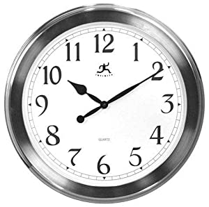 Timepiece brushed nickel wall clock 20 d brushed nickel - Large brushed nickel wall clock ...