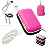New first2savvv outdoor heavy duty pink camera case for Canon IXUS 220 HS with white camera hand strap