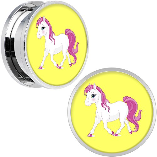 Body Candy Stainless Steel Blushing Pink White Pony Screw Fit Double Flare Plug Pair 20mm (Pony Plug Adult compare prices)