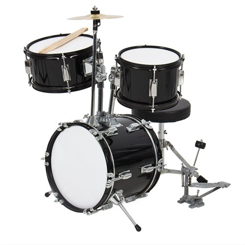 """Drum Set 3 Pc Kids 12"""" Black Beginners Complete Set With Throne, Cymbal And More"""