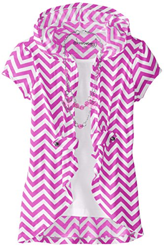 Dream Star Big Girls' Hooded Chevron Print Twofer with Necklace