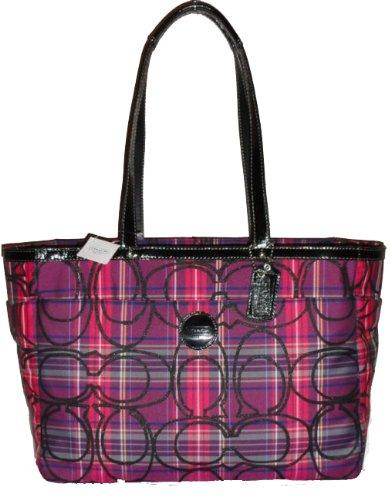 080bd569fce Authentic Coach Signature Stripe Tartan Pink Purple Plaid Tote Bag ...
