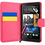 Hot Pink HTC One M7 Premium Side Flip Case Cover, Screen Protector and Polishing Cloth + High Capacitive Touch Screen Stylus