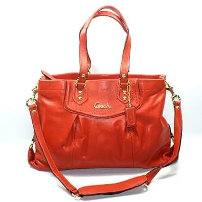 Coach Ashley Leather Carryall Handbag/ Shoulder Bag (orange) #19243
