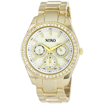 Set A Shopping Price Drop Alert For XOXO Women's XO5302A Rhinestone Accent Gold-Tone Bracelet Watch