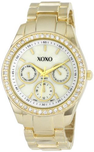 XOXO Womens XO5302A Rhinestone Accent Gold-Tone Bracelet Watch