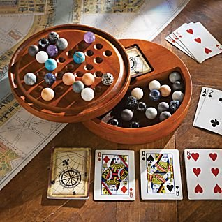 Solitaire Game Set with Wooden Cabinet Board & Stones
