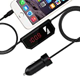 Mpow Wireless FM Transmitter, Streambot Music Radio Car Kit with 3.5mm Audio Plug and USB Car Charger Adapter, Compatible with iPhone, iPad, Samsung and Mobile Audio Devices