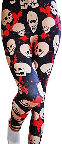 Tratto attivo a maglia metà stampa teschi e del sangue Leggings per le donne ragazze Capri pantaloni (una dimensione, bianco/rosso/nero)