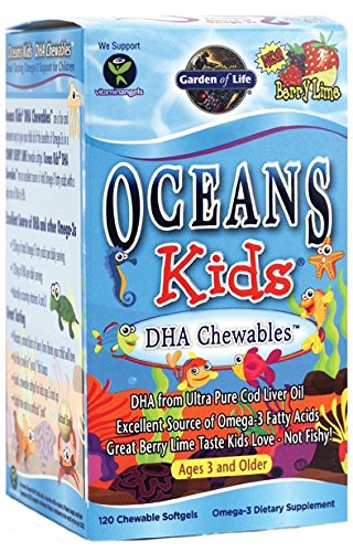 Garden of Life Ultra Pure EPA/DHA Omega 3 Fish Oil - Oceans 3 Oceans Kids Dietary Supplement with Antioxidants, 120 Chewables Softgels (Omega 3 Vitamin For Kids compare prices)